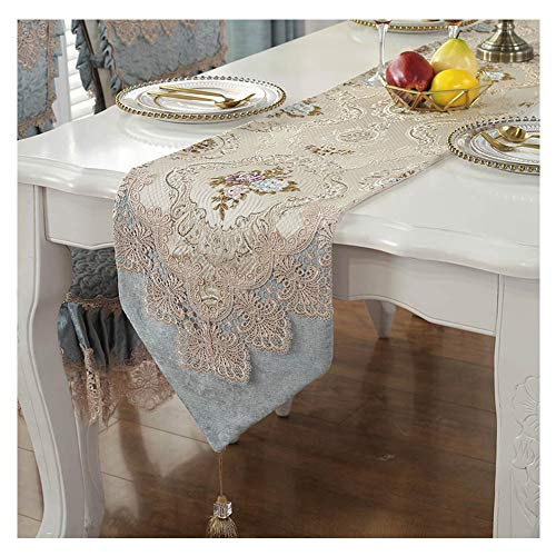 WXIAO Exquisite Tafel Runner Kant Open Haard Decoratie Traditionele Elegante Dresser Sjaals Machine Wasbare Kwastjes Indoor Tafelkleed