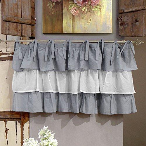 AT17 Mantovana Shabby Chic con Balze Etoile Degradè Collection Grigio Bianco Grigio 130 x 60 cm