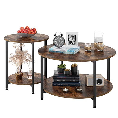 Homfa Round Coffee Tables Set of 2 Bedside Table Industrial Side Tables End Tables for Living Room Bedroom