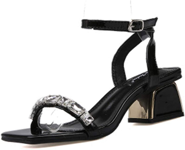 Eleganceoo Women Sandals Slingback Anti-Slip Buckle Ankle Strap Open Toe Chunky Heeled shoes
