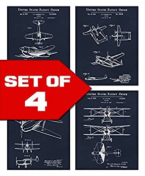 Wallables Navy Blue Vintage Airplane Patents Set! Four 8x10 Aviation Themed Mens Wall Decor Art Prints for Office Home Living Room Bachelor Pad or Barbershop Decoration! Designed Exclusively