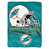 The Northwest Company 0807 Miami Dolphins NFL Royal Plush Raschel (Prestige Series), 60' x 80', Aqua