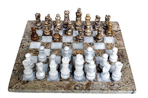 Radicaln Handmade Weighted Marble Fossil Coral and White Full Classic Staunton Chess Board Game Set for Adults - Non Othellot Non Checker Non Go Mens New Chess Play Games Sets
