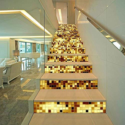 LXLH Goldene Treppe Aufkleber Fliesen Aufkleber Marokkanische Retro Traditionelle Mosaik Stil Transfers Fliesen Stick On Wall Peel und Stick Fliesen Aufkleber 13PCS