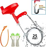 Plumbing Snake Drain Auger, 25 Ft Professional Flexible Sink Snake, Pipe Snake, Drain Clog Remover for Bathroom Kitchen Sink, Shower Drain, Sewer(Black)