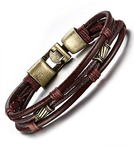 Preisvergleich Produktbild Vnox geflochtenes Leder-Armband für Herren