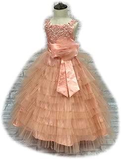 LUKEEXIN Little Girls Embroidered Beaded Flower Birthday Party Dress