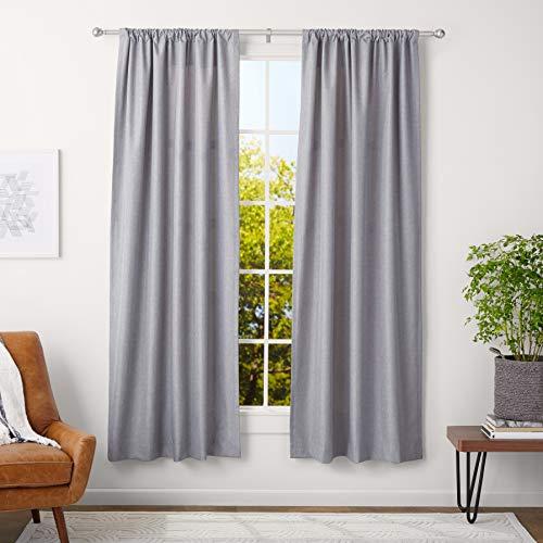 AmazonBasics - Barra para cortinas con remates redondeados, 91-182 cm,