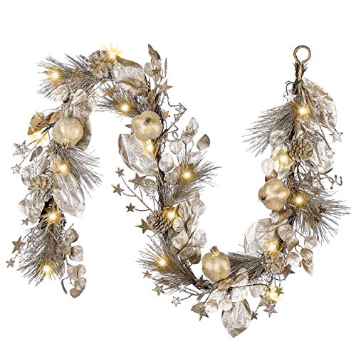 Valery Madelyn Pre-Lit 6 Feet Elegant Gold Christmas Garland with Pomegranates, Pine Cones and Gold Leaves, Battery Operated 20 LED Lights