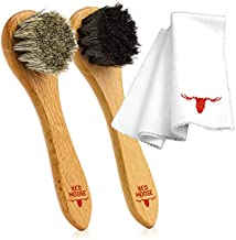Red Moose 3pc Shoe Shine Kit - 2 Shoe Brush and Microfiber Cleaning Cloth Set