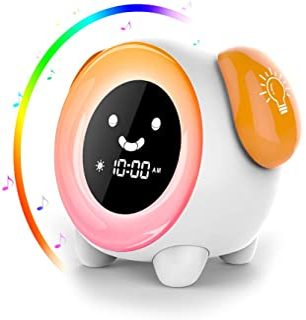 AUELEK - Lámpara despertador de mesita de noche con diseño de osito, doble alarma y asistente de sueño, LED inteligente, modo de repetición, 7 colores, luz regulable, recargable por USB