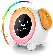 Despertador Infantil - 2019 Niños Entrenador de Dormir LED despertador luz Digital, 2400mAh Recargable con 2 Alarmas, 3 Modos, 6 Sonidos Naturales, 7 Luces de Colores Ajustables, Función Snooze
