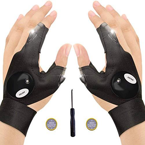 Baogaier LED Fingerlos Angelhandschuhe, 1 Paar Outdoor Taschenlampe Handschuhe Schwarz, Arbeitshandschuhe mit Licht zum Reparieren, Arbeiten an dunklen Orten, Angeln, Camping und Wandern