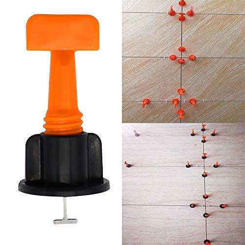 Nivelador de posicionamiento de azulejos, 50 piezas, forma de T, espaciadores de nivelación, cuñas, azulejos, nivelación, sistema de alicates de piso, negro