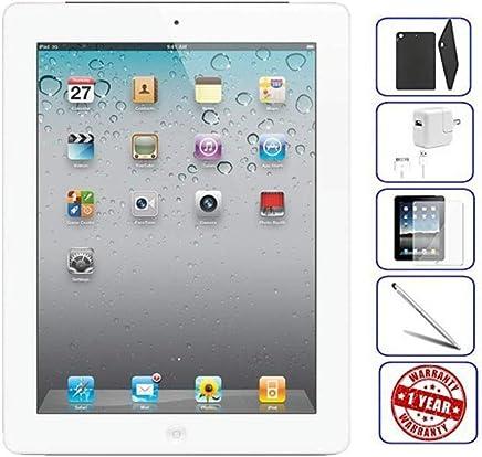 Apple iPad 2 Tablet 16GB, 32GB, 64GB - Wifi, Black 2nd Generation   Bundle Includes: Case, Tempered Glass, Stylus Pen, 1 Year Warranty (16GB, Black) (Renewed)