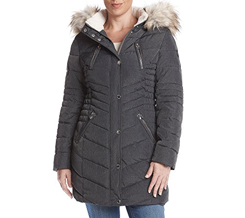 Laundry Petites' Faux Fur Hood Vertical Quilted Coat Petite X-Large