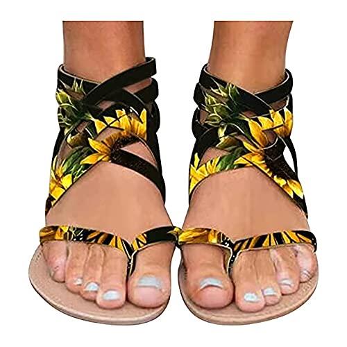 Orgrul Sandalias Mujer Verano 2021, Chanclas Mujer Verano Plana, Tacon de Cuña Plataforma del Verano Cómodos Zapatos Bohemias Las Sandalias Planas 14CD (35, F)