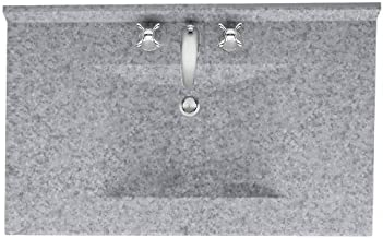 Swanstone CV2231-042 Contour Solid Surface Single-Bowl Vanity Top, 31-Inch by 22-Inch, Gray Granite