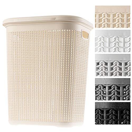 KADAX Wäschekorb, 50L, multifunktionale Wäschetruhe mit Deckel, Leichter Wäschesammler, Wäschesortierer aus Kunststoff, für Bad, schmutzige Kleidung, Spielzeug, Wäschebox (Creme)