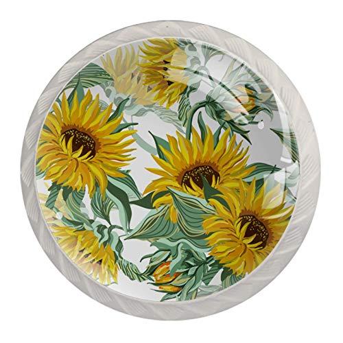Perillas decorativas redondas para gabinete de cocina, cajones, cómoda, 4 piezas, patrón de girasol