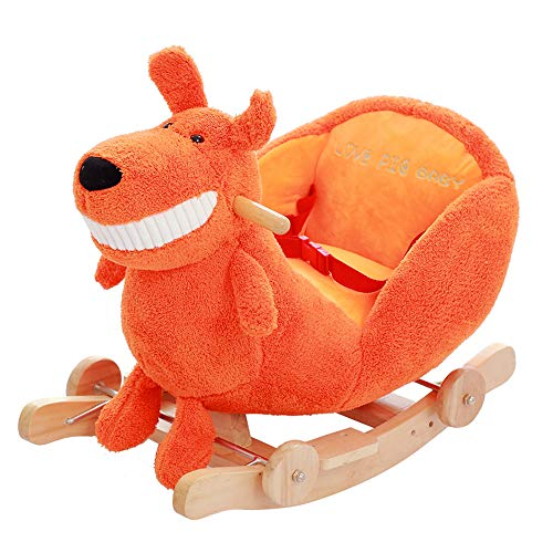 ZXJJD Baby Rocking Horse, Kids Ride on Toy, Wooden Riding Horse for 1-3 Years Old Boy Girl, Toddler/Child Outdoor&Indooor Toy Rocker, Plush Stuffed Animal Rocker Chair Infant Gift