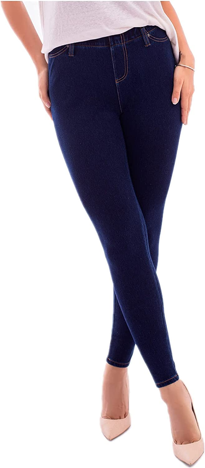 WOPICK Stretchy Jeggings for Women, Knit Jean Leggings with Pockets