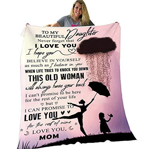Herbests Personalisierte Briefe Decke an Meine Tochter von Mama Decke, Kuscheldecke Weiche Plüsch Decke Flanell sofadecke Mikrofaser Wohndecke Warme Couch Decken,150 * 200CM