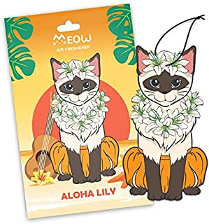 Woofy Meow Hanging Car Air Freshener - Adorable Kitty Design - Long Lasting Scents - [ Pack of 3 Aloha Lily ]