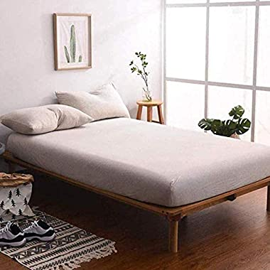 MisDress 3 Pieces Fitted Sheet Set King, Ultra Soft Jersey Knit Cotton Fitted Bottom Sheet(with 15  Elastic Deep Pocket) and Pillow Shams Hypoallergenic and Breathable Light Coffee King Size