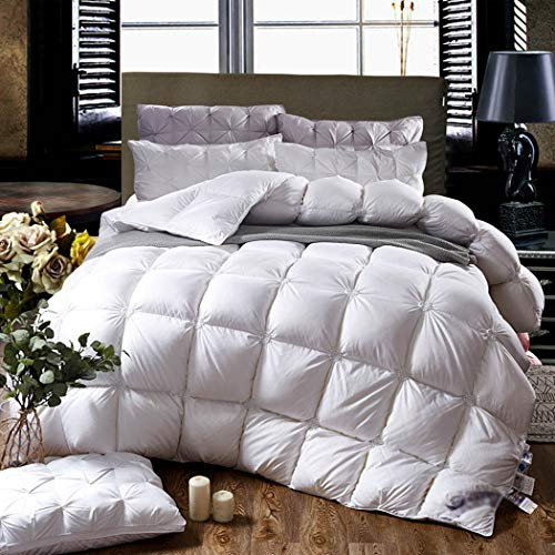 LanPerro All Season Duvet, 95% High Grade White Goose Down Comforter, Luxurious All Seasons Lightweight And Medium Warmth Quilt, Solid Color,White,220 * 240CM 3.4KG