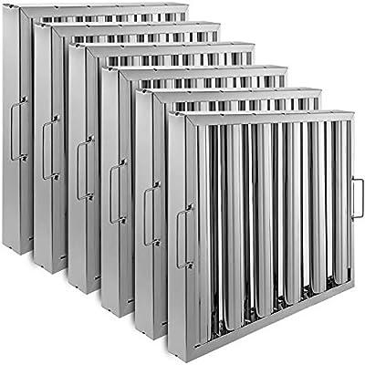 VBENLEM Set of 6 Restaurant Hood Filter 19.5W x 15.5H Inch 430 Stainless Steel Hood Filter with 5 Grooves Range Hood Filter for Commercial Kitchen