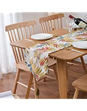 Icegrey Chemin de Table Coton et Lin de Tisser Mariage Noël Vintage Rustique Jardinage Décorations de Table Imperméable Anti Tache