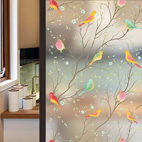 Lifetree Privacy Window Film Frosted Glass Film Stained Glass Film Static Cling Film Non-Adhesive Film Bird Window Stickers for Home Bathroom Office 44.5X200cm