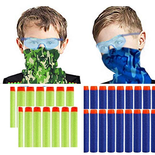 Wishery Party Supplies for 8 Kids, Compatible with Nerf Gun Products. Accessories for Nerf Gun Birthday Party, Family Nerf Wars. Includes Darts,Tactical Face Mask, Eye Safety Glasses ( 2 Teams) .