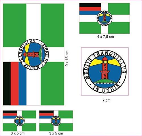 U24 Aufkleberbogen Borkum Aufkleber Set Flagge Fahne