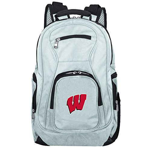 For Sale! NCAA Wisconsin Badgers Voyager Laptop Backpack, 19-inches, Grey
