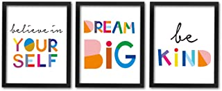 "HPNIUB Framed Watercolor Words Inspirational Quote Art Print Set of 3 (8""X10"")-Ready to Hang-Motivational Typography Canvas Painting,Believe in Yourself- Dream Big- Be Kind Print for Classroom Decor"
