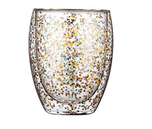 Double-Layer Glass Cups Sequins Transparent Glass Thick Heat-resistant Milk Glass Wine Glass Makeup Brush Holder Pen Holder (stars glitter glass large,11.8oz)