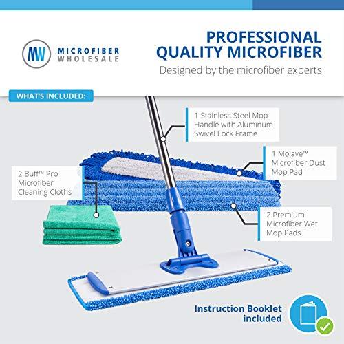 18' Professional Microfiber Mop | Stainless Steel Handle | 3 Premium Mop Pads + 2 Free Microfiber Cloths