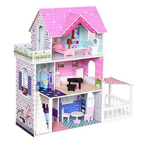 HOMCOM Puppenvilla Mädchen Spielzeug Kinder Puppenhaus aus Holz Puppenstube Barbiehaus Dollhouse 3 Etagen mit Möbel und Zubehör 86 x 30 x 87 cm