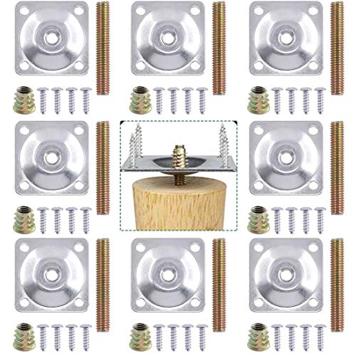8 juegos de placas de montaje para patas de muebles con tornillos, patas de sofá M8 de placa en T de resistencia industrial, perfectas para reparar el asiento del sofá dañado