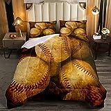 Juego de edredón de béisbol de 3 piezas para niños y niñas, juego de cama cómodo con 2 fundas de almohada decorativas, tamaño King