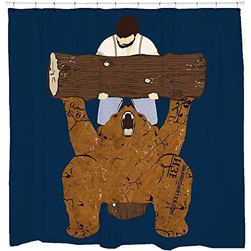 D-M-L Duschvorhang-Set Sharp Shirtergym Cool Bear Artwork Woodland für Mancave Badezimmer Art Haken inklusive 122 x 183 cm