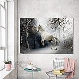 N / A Pintura sin Marco Arte de la Lona Pintura Animal Mural, Sala de Estar Caballo en la Nieve decoración del hogar de inviernoZGQ7552 50x75cm