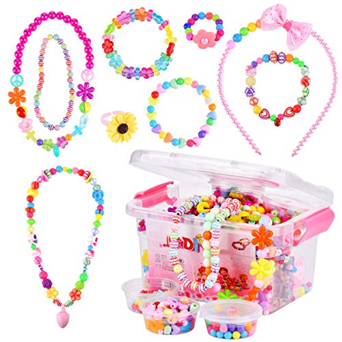Miavogo Children DIY Beads Set, 1500pcs Bead Crafts Jewellery Making Friendship Bracelet Necklaces for Kids Girls 4 5 6 7 8+ Years Old