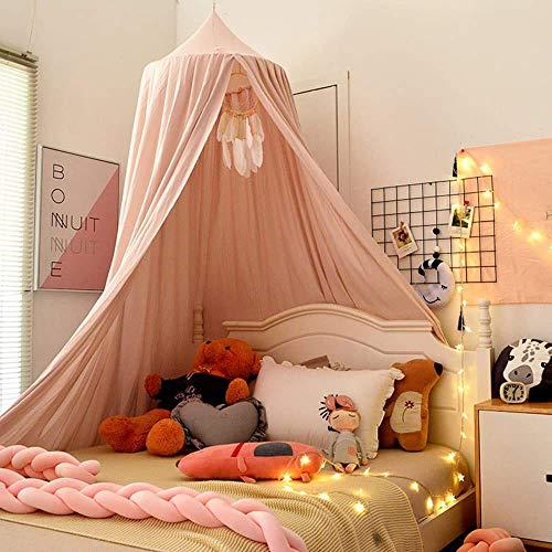 YVX Tienda de campaña con Dosel para Cama para niños, cúpula Redonda, decoración de la habitación de los niños, Castillo Colgante para la casa, rincón de Lectura (Rosa Claro)