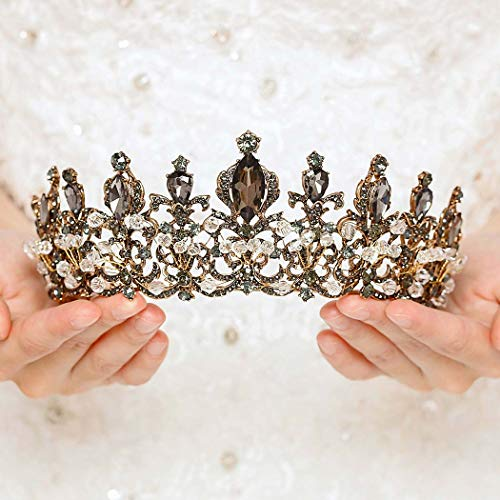 Victray Baroque Bride Wedding Crystal Crowns and Tiaras Bridal Princess Headbands Silver Headpiece for Women and Girls