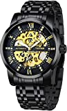 Mechanical Men's Watch Stainless Steel Skeleton Automatic Watch Waterproof Business Watches for Men
