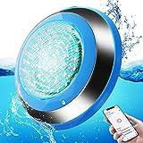 Toplanet Iluminación LED para piscina, 47 W, IP68, impermeable, RGB, 12 V CA/CC, iluminación subacuática con temporizador, color de luz y modo de música