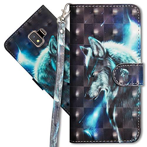 MRSTER J2 Core Handytasche, Leder Schutzhülle Brieftasche Hülle Flip Hülle 3D Muster Cover mit Kartenfach Magnet Tasche Handyhüllen für Samsung Galaxy J2 Core 2018. YX 3D - Wolf